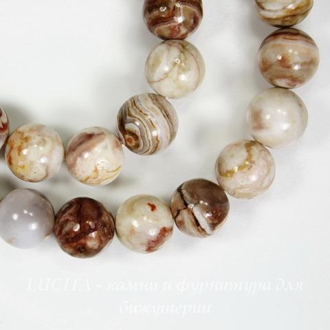 """Бусина Агат """"Крейзи"""", шарик, цвет - бело-коричневый, 8 мм, нить"""