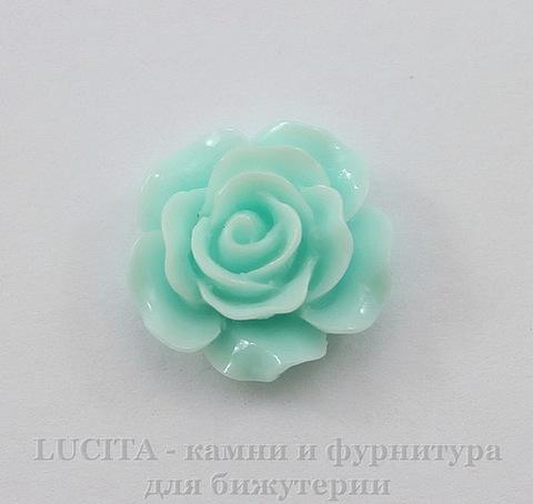 """Кабошон акриловый """"Роза"""", цвет - ментоловый, 14 мм"""