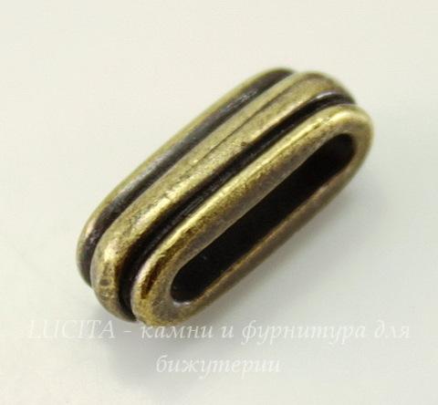 "Бусина для шнура 12х2 мм TierraCast ""Deco slide"" 17х7х6 мм (цвет-античная латунь)"