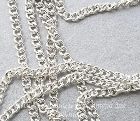 Цепь  (цвет - серебро) 2х2 мм, примерно 5 м