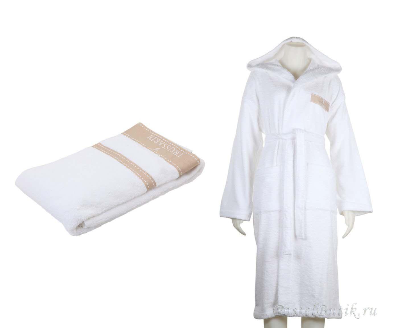 Наборы полотенец Набор полотенец 3 шт Trussardi Golf и халат M белый mahrovy-halat-i-polotentsa-logo-ot-trussardi.jpg