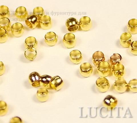 Кримпы - зажимные бусины 2х1,2мм (цвет - золото) 2 гр (около 150-160 штук)