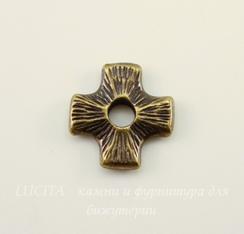 "Элемент под заклепку TierraCast ""Крест"" 11х11 мм (цвет-античная латунь)"