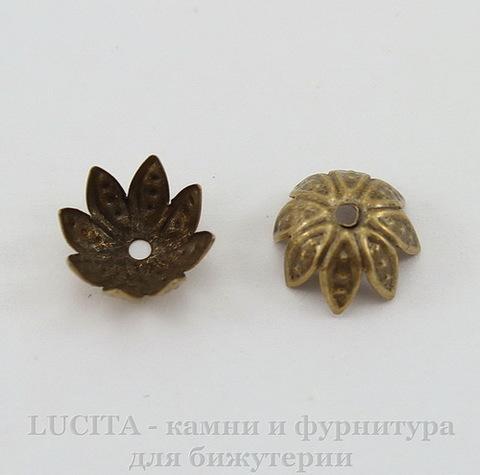 """Шапочка для бусины """"Цветочек"""" (цвет - античная бронза) 10х4 мм, 10 штук"""