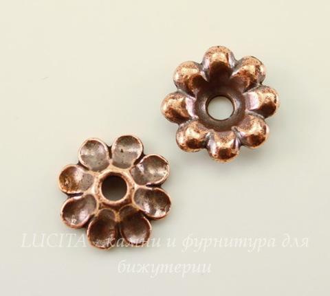 """Элемент под заклепку TierraCast """"Цветок"""" (цвет-античная медь) 11 мм"""
