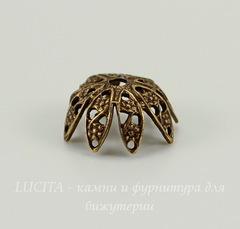 Винтажный декоративный элемент - шапочка  10х5 мм (оксид латуни)
