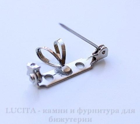Винтажная основа для броши 26х5 мм с двойной петелькой 7 мм (цвет - античное серебро) ()