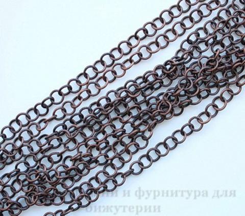 Винтажная цепь текстурная с круглым звеном 10 мм (оксид меди), 10 cм ()