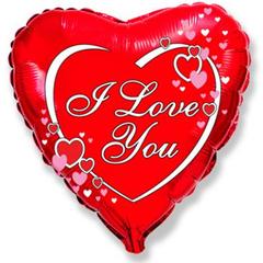 F 18 Сердце Я тебя люблю сердца рядом с надписью (46 см)