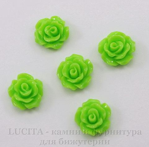 """Кабошон акриловый """"Роза"""", цвет - салатовый, 10 мм, 5 штук"""