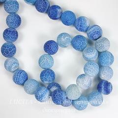Бусина Агат цветочный матовый (тониров), шарик, цвет - сине-голубой, 10 мм, нить