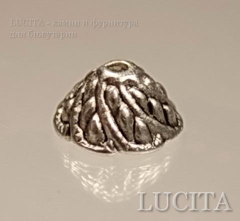 "Шапочка для бусины ""Завиток"" (цвет - античное серебро) 11х6 мм, 10 штук ()"