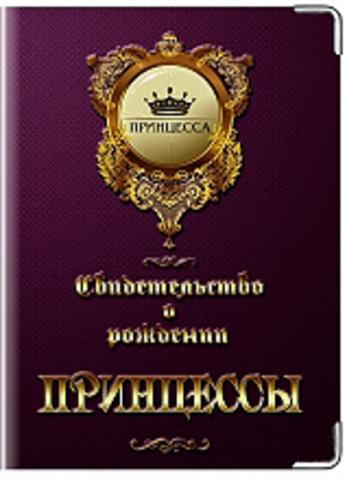 Обложка для свидетельства о рождении Принцессы