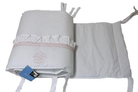 Бампер для детской кроватки 185х45 Bovi Вензель бело-розовый