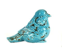 Элитная статуэтка Птичка Craquelure голубая правая от Sporvil