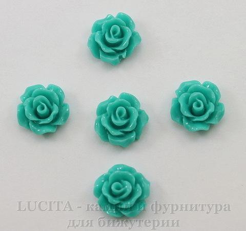 """Кабошон акриловый """"Роза"""", цвет - морская волна, 10 мм, 5 штук"""