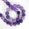 Бусина Агат цветочный матовый (тониров), шарик, цвет - фиолетовый, 10 мм, нить
