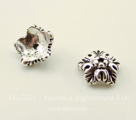 """Шапочка для бусины TierraCast """"Дубовый лист"""" (цвет-античное серебро) 10х4 мм"""