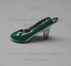 """Подвеска 3D металлическая с эмалью """"Туфелька"""" (цвет - никель) 22х9  мм"""