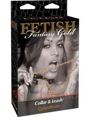Ошейник БДСМ Fetish Fantasy Gold Collar & Leash с поводком