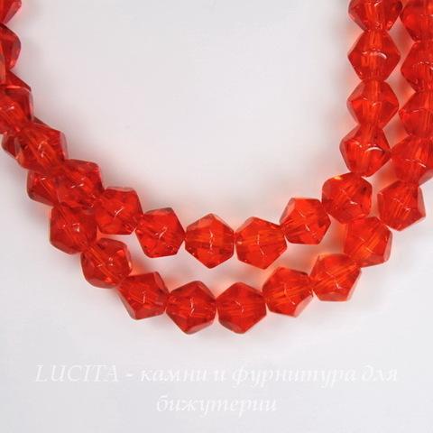 Бусина стеклянная, биконус, цвет - красный, 4 мм, нить
