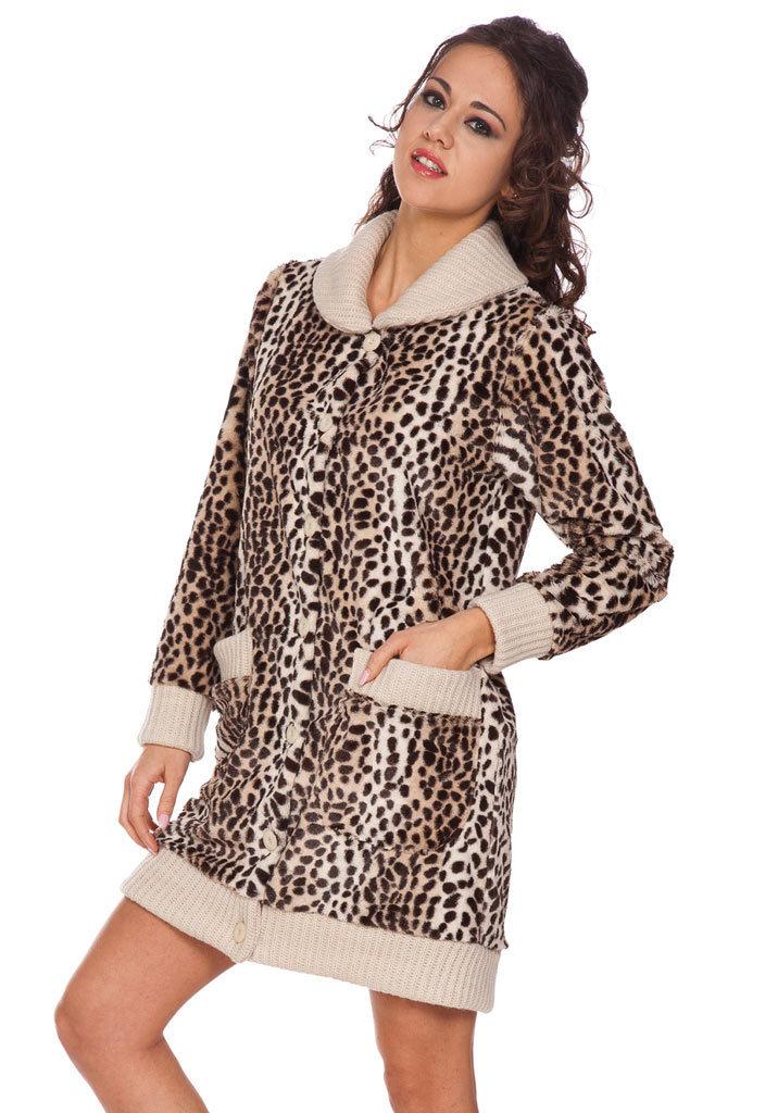 Теплый леопардовый халат DolceVita (Женские халаты)