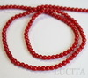 Бусина Коралл (тониров, прессов), шарик, цвет - красный, 3 мм, нить
