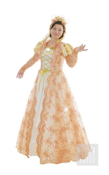 Костюм Принцессы  изготовлен из золотой сетки, расшитой золотыми шнурами, лиф на хлопчатобумажной подкладке. Рукава изготовлены из стрейчевой парчи и украшены буфами из полосок креп-сатина, отделанного золотой тесьмой.