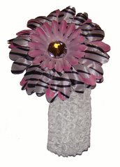 Повязка с цветком ID-13, зебра + бледно-розовый