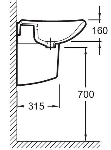 Jacob Delafon Escale Подвесная раковина 65х52 см ( E1211)