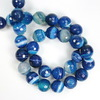 Бусина Агат, шарик с огранкой, цвет - синий с белыми полосками, 10 мм, нить
