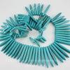 Бусина Говлит (искусств), продолговатая, цвет - голубой, 20-59х4-5 мм, нить