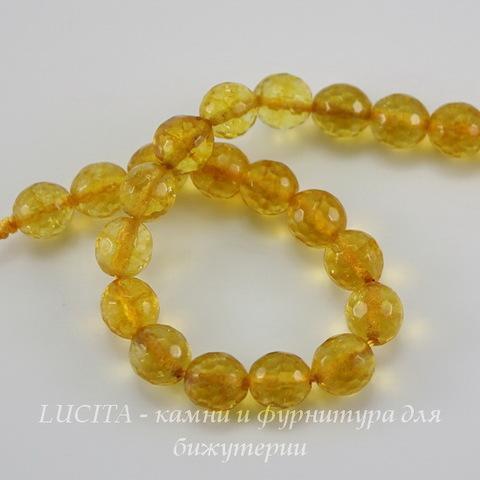 Бусина Цитрин, шарик с огранкой, цвет - прозрачно-желтый, 8 мм, нить