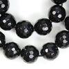Бусина Агат (тониров), шарик с огранкой, цвет - черный, 10 мм, нить