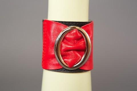 Браслет черно-красный с овальной пряжкой шир. 6 см.
