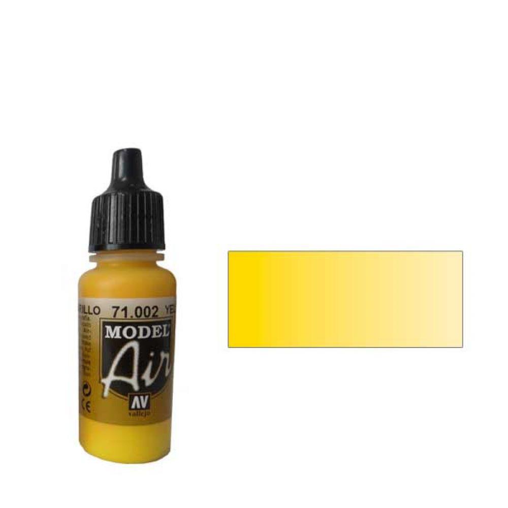 002 Краска Model Air Желтый (Medium Yellow) укрывистый, 17мл