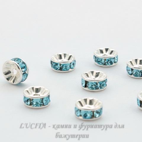 77506 Бусина - рондель Сваровски Aquamarine (цвет - серебро) 6х3 мм