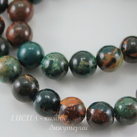 Бусина Змеевик (Серпентинит)(тониров, натур), шарик, цвет - темно-зеленый с коричневым, 10 мм, нить