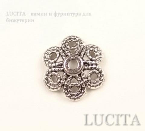 "Шапочка для бусины ""Цветок 6 лепестков"" (цвет - античное серебро) 12,5х4 мм, 10 штук ()"