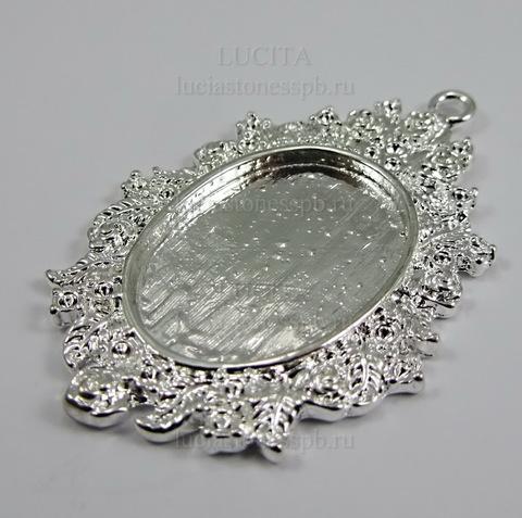 Сеттинг - основа - подвеска для камеи или кабошона 25х18 мм (цвет - серебро) ()