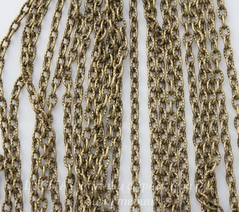 Цепь с насечками (цвет - античная бронза) 4х3 мм, примерно 10 м