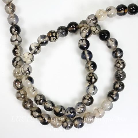 """Бусина Агат """"Вены Дракона"""", шарик, цвет - серый с черным, 6 мм, нить"""