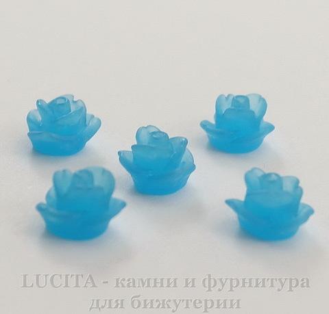 """Кабошон акриловый """"Розочка"""", цвет - небесно-голубой, 7 мм, 5 штук"""