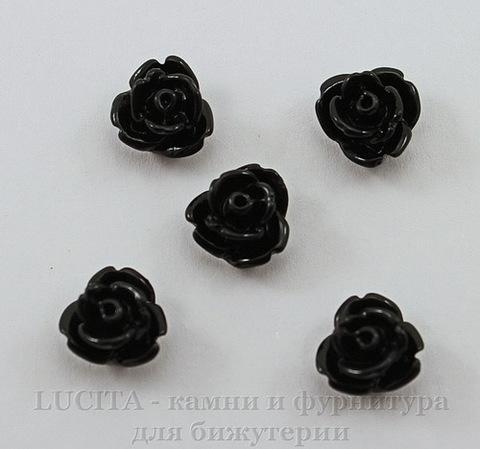 """Кабошон акриловый """"Розочка"""", цвет - черный, 7 мм, 5 штук"""