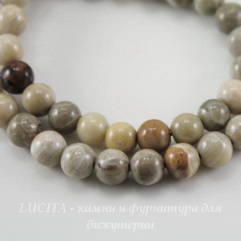 """Бусина Коралл """"Хризантема"""", шарик, цвет - серый с бежевым, 6 мм, нить"""