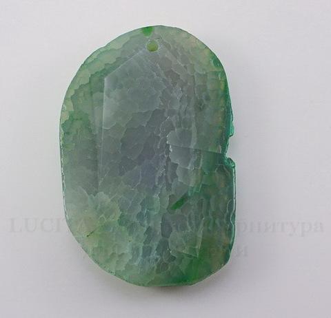 Подвеска Агат (тониров) (цвет - дымчатый серо-зеленый) 56х37х9,1 мм №8