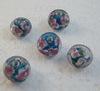 Бусина Лэмпворк рондель, голубая с розовым 11-12х8-9 мм