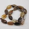 Бусина Агат Ботсвана, овал, цвет - серо-коричневый с полосками, 20х12 мм, нить
