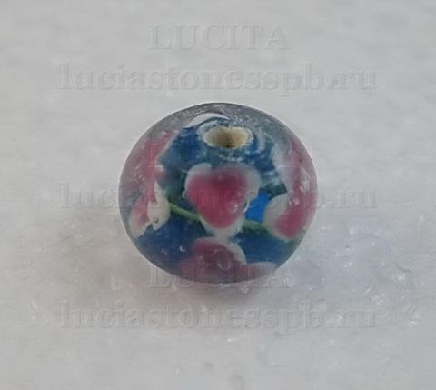 Бусина Лэмпворк рондель, голубая с розовым 11-12х8-9 мм ()