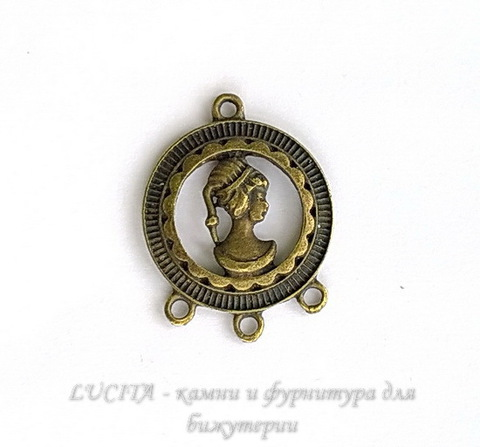 "Коннектор ""Девушка"" (1-3) 32х25 мм (цвет - античная бронза)"
